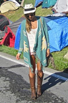 Native wrap sweater, shorts & boots.