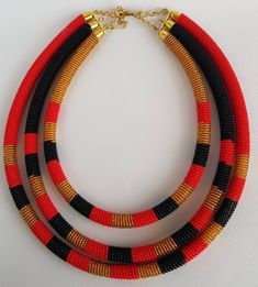 3 in 1 gold necklace, black gold necklace for women, African necklace, handmade jewelry - kira Rope Jewelry, Fabric Jewelry, Jewelry Necklaces, Multi Strand Necklace, Beaded Necklace, Gold Necklace, Handmade Necklaces, Handmade Jewelry, Style Africain