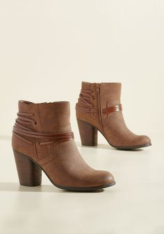 Clever All Ties Bootie in Cognac by Madden Girl - Brown, Solid, Work, Casual, Minimal, Fall, Winter, Mid, Better, Chunky heel, Ankle, Variation, Brown, Saturated