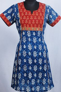 Jaipuri Block Printed Kurti with Polished Mirror Patchwork on Yoke.