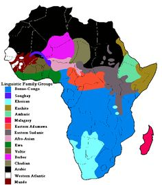 African Linguistic Family Groups What they don't show you is a map of where these language families extend out of Africa. African Map, African American History, Jean Piaget, Black History Books, Les Continents, Old Maps, Historical Maps, West Africa, History Facts