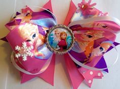 """Elsa and Anna Frozen Bow Inspired 5"""" Boutique Style Hair Bow, Spiked Loopy Bow, Pink, Hot Pink, Snowflake, Bottle Cap, Polka Dot Ribbon by GirlyCurlBowtique on Etsy https://www.etsy.com/listing/245384844/elsa-and-anna-frozen-bow-inspired-5"""