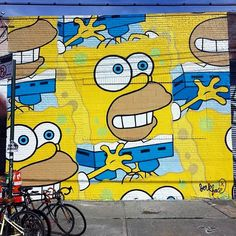 Sélection de la semaine, #WTF, #Cosplay, #Geek, #FunFacts, #Design, #Photographie, #Vrac - Illustration – Street Art – Jerkface – Homer Simpson en Bob l'éponge