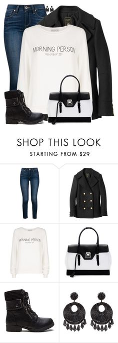 """""""Understated Christmas Sweater"""" by sherbear1974 ❤ liked on Polyvore featuring Paige Denim, Balmain, Wildfox, Mark Cross and Kenneth Jay Lane"""