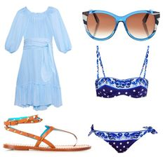 Blue summer dress, Dolce & Gabbana bikini, Valentino sandals and Fendi sunglasses. Perfect combo for a hot summer day on a beach. #fashion #beach #style