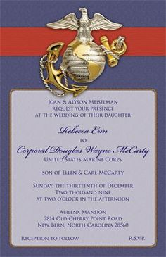 invitation or announcement perfect for a marine corps commissioning