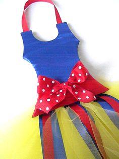 Tutu pelo arco titular  azul rojo y amarillo por bubblesandcompany