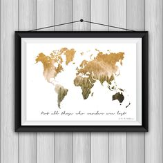 Wanderlust print, World map, World map wall art, World map poster, Inspirational quote wall art, Inspirational quotes art,Map art, Map Print  PLEASE READ FOLLOWING DESCRIPTION!  Don't you know how to decorate your new apartment? Have you got an office and you want to decorate it? This is your shop! SIZES The image is available to print in digital format directly! - 1st size: 60cmx40cm  - 2nd size: 45cm x 30 cm  - 3rd size: 30cm x 20cm - PDF  HOW TO ORDER AND DOWNLOAD?  - Purchase this print…