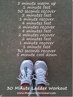 ladder interval workout - I doubt I'll pull up Pinterest while trying not to dry heave while running. But just in case, let's repin this for funsies.