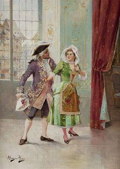Der Galan von Mariano Alonso Pérez Alonso, Lady And Gentlemen, Maids, 19th Century, Gentleman, Romantic, Painting, Art, Mariana