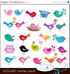 60% OFF SALE 20 LITTLE Birds. Digital clip art collection, in Jpeg and Png files.
