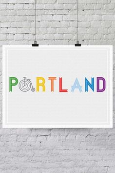 "Portland Bike Print - 18"" x 24"" by Trendy Neighborhood Word Art on @HauteLook"