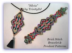 SILVIA PENDANT - Brick Stitch PENDANT has been designed for the use of Delica seed beads. If you want a matching bracelet (as seen in the 2nd photo), please follow this link for the pattern: https://www.etsy.com/listing/467313444/bp-br-062-2016-127-silvia-brick-stitch?ref=shop_home_active_16  +++++++++++++++++++++++++++++++++++  THIS PATTERN DOES NOT INCLUDE WORD CHARTS SINCE WORD CHARTS DOES NOT SHOW INCREASES AND DECREASES CORRECTLY!!  ++++++++++++++++++++++++++++++++++++  BRACELET PATTERN…