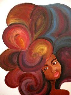 Natural Hair Art-so pretty! African American Art, African Art, Natural Hair Art, Black Artwork, Afro Art, Black Women Art, Beauty Art, Beautiful Artwork, Oeuvre D'art