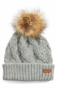 b4aacd283cb Main Image - Barbour Ashridge Beanie with Faux Fur Pom Fur Pom Pom Hat