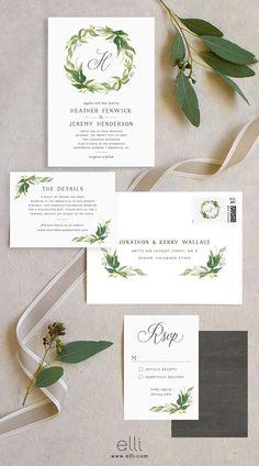 Gorgeous greenery wreath wedding invitation suite with monogram.