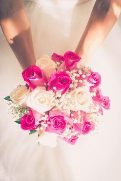 Bridal Bouquet Pink, Diy Wedding Bouquet, White Wedding Bouquets, Bride Bouquets, Boquet, Pink Grey Wedding, Hot Pink Weddings, Floral Wedding, Dream Wedding