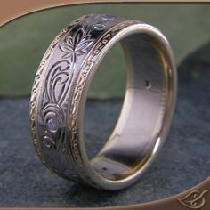 Two-tone with Diamonds Men's Engraved Wedding Band at Green Lake Jewelry