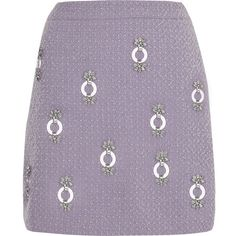 River Island Light purple Holly Fulton boucle mini skirt (1 525 ZAR) ❤ liked on Polyvore featuring skirts, mini skirts, purple skirt, short skirts, lavender skirt, boucle skirts and river island
