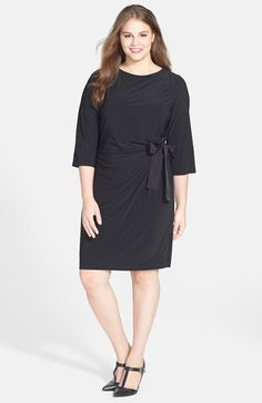 Free shipping and returns on Taylor Dresses Faux Wrap Dress (Plus Size) at Nordstrom.com. For a figure-flattering effect, an elegantly simple matte-jersey dress is gathered to the side and tied in a sweet grosgrain-ribbon bow.