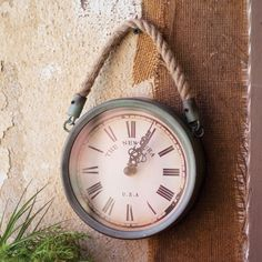 Metal Wall Clock with Rope
