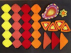 Geometric Shapes for the Artisphere Yarn Bomb! Yarn Bombing, Triangles, Geometric Shapes, Paisley, Palette, Projects, How To Make, Log Projects, Blue Prints