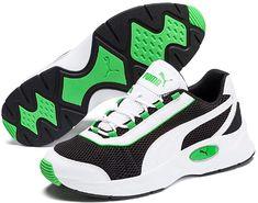 PUMA Nucleus Training Shoes in Black/Classic Green size 11 Green Puma Shoes, Unisex, Air Max Sneakers, Sneakers Nike, Baskets, Mens Training Shoes, Puma Cat, Black Puma, Cat Logo