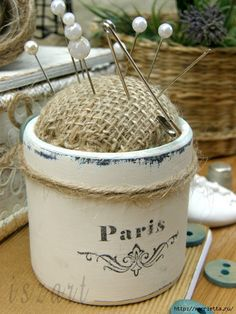 paris burlap pin cushion
