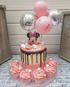 Balloon Cake Topper 5 Mini Bunting Banner Garlnd Party Birthday Wedding Hello 30 Baby Engaged Cake One Smash Pink Clear Silver Confetti Minni Mouse Cake, Minnie Mouse Birthday Cakes, Baby Birthday Cakes, Baby Girl Cakes, Birthday Parties, Birthday Bunting, Cake Baby, Free Birthday, Bolo Minnie