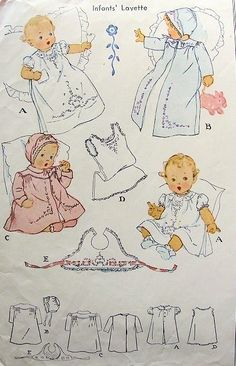 1944 vintage baby layette McCall 1162