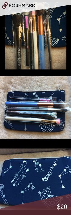 Assorted Lot of Brand New Makeup Brushes! ❤️😘❤️ This item is brand new and comes from a clean and smoke free home.  It's an assorted lot of brushes.  All brand new and never used.  The cosmetic bag is included as a bonus.  ❤️❤️😘❤️❤️ Makeup Brushes & Tools