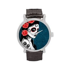 Day of the Dead Sugar Skull Girl - Blue Wrist Watch  $47.95