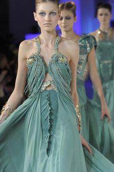 Greeny blue halter dress // Basil Soda Haute Couture, Spring 2011.