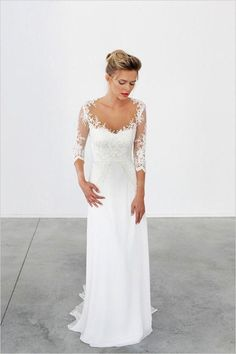 Unique Lace 3/4 Sleeve White Formal Cheap Beach Long Wedding Dresses, WG655