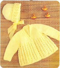 A pdf copy of a vintage knitting pattern to make a pretty baby matinee coat and bonnet. From Hayfield leaflet No. 1489 In four sizes to fit babies from 16-19 , 41-48 cm.  In double knitting wool.This vintage pattern is in UK terminology and English language, I provide a UK/USA conversion chart with your purchase.  This listing is for a PDF copy of the above vintage knitting pattern, not the actual pattern, or the garments. It is available by instant download.  Required: Adobe in order to…
