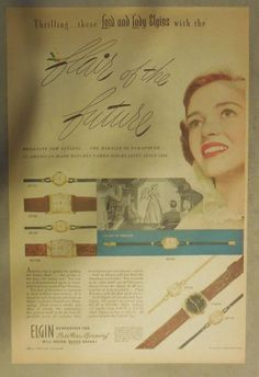 Elgin Watch Ad: The Flair Of The Future ! Tabloid Page from 1940's | eBay