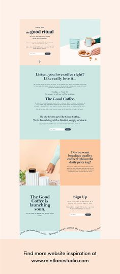 The Good Ritual mobile site design is full of positivity, fun and color. The first ever Specialty Instant Coffee with L-Theanine. Minimal, fun, bright logo + packaging design by Mint Lane Studio. Click to view the full project   #websitedesign #mobilesitedesign #coffeedesign #branding Web Design Examples, Web Design Projects, Website Design Layout, Website Designs, Layout Design, Site Website, Website Ideas, Beautiful Website Design, Site Vitrine