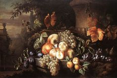 Fruit-Piece with Stone Vase by Jakob Bogdany - Buy affordable hand-painted oilpaintings on canvas at Oil Paintings.com