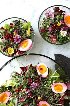 Microgreens with Edible Flowers, Beet Stained Soft Boiled Eggs and Lemon Honey Vinaigrette. Ingredients can be found at #McEwanFoods