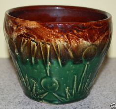 Vintage McCoy Sunrise Pottery Jardiniere Planter Brown Green Flower Pot | eBay