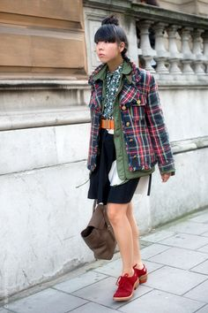 "Layering coats seems to be the most recent ""in"" thing to do. I like this one with the plaid over the solid."