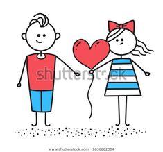 Стоковая иллюстрация «Happy Valentines Day Card Girl Gives