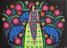 combining Mara Hoffman's Spring 2013 collection and the work of Ukrainian folk artist & decorative painterMaria Primachenko