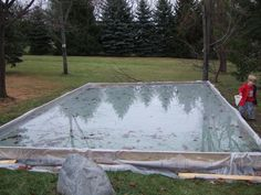 DIY backyard ice rink (if you want to be the coolest parents ever) You can also use a string reinforced liner to make this. www.americover.com has liners and you can get it made in a custom size.
