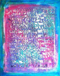Stencil Girl blog hop celebrating Jessica Sporn's  Hebrew Calligraphy with Hamsa Stencil #art