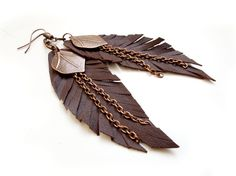 Brown leather feather earrings #boho #bohemian #feather