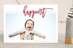 """The Happiest Holiday"" - Bold typographic, Modern Holiday Photo Cards in Berry Red by JoAnn Jinks."