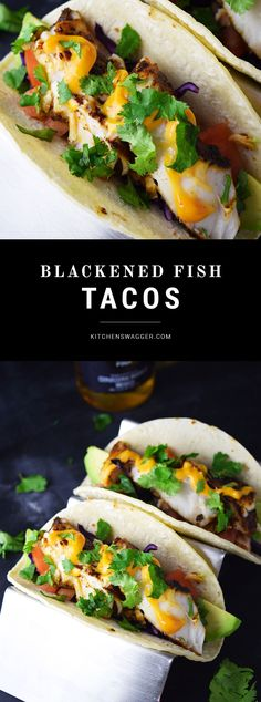 Fish tacos made with blackened catfish, purple cabbage, avocado, cilantro, fresh lime, and chipotle mayonnaise.