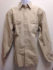 Ll Bean Mens Beige 100 Cotton Button Front Long Sleeve Shirt M | eBay
