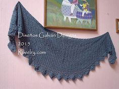 A simple shawl, made side to side,with a rounded triangle shape, it can be made to any size desired, using any yarn weight and appropriate hook for drape. If you use another type of yarn, and different sizing, then the amounts will vary.